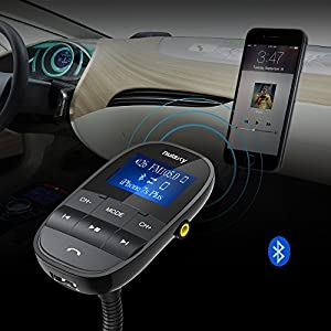 Nulaxy Wireless In-Car Bluetooth FM Transmitter Radio Adapter Car Kit W USB Charger Support USB Flash Drive Micro SD Card AUX Input Output, 2017 Model, Black