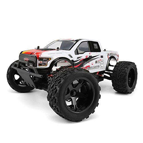 - FunTech Remote Control Car, 1/10 Scale Brushed Electric Truck, Racing Monster Car, 2.4-Ghz Radio RC 4WD