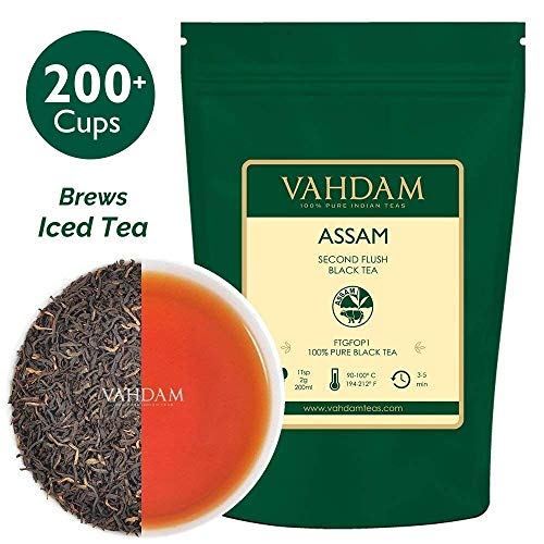 Assam Black Tea Leaves (200+ Cups), STRONG, MALTY & RICH, Loose Leaf Tea, 100% Pure Unblended, Single Origin Black Tea Loose Leaf, Brew Hot Tea, Iced Tea, Kombucha Tea, FTGFOP1 Long Leaf Grade, 16oz -