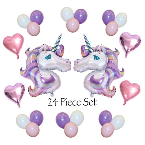 Unicorn Birthday or Baby Shower Balloon Set: (2) HUGE Lavender & Pink 46