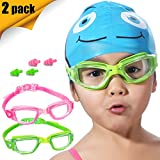 Kids Swim Goggles, 2 Pack Crystal Clear Swimming Goggles for Children and Teenagers, Anti-fog Anti-UV Youth Swimming Glasses, Leak proof, Free ear plugs, one button open straps, for 4-15 Y/O