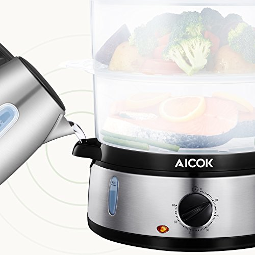 Food Steamer 9.5 Quart Vegetable Steamer, 800W Fast Heating Electric Steamer including 3 Tier Stackable Baskets with Rice bowl, Stainless Steel by AICOK (Image #2)