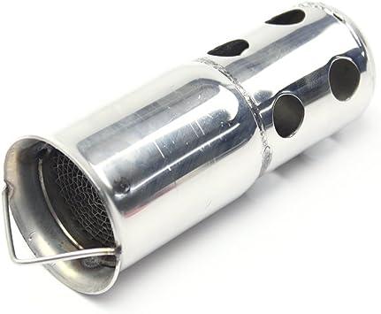 Jfgracing Auspuff Schalldämpfer 5 Cm Außendurchmesser 14 Cm Länge Edelstahl Universal Für Motorrad Auspuff Schalldämpfer Einsatz Auto