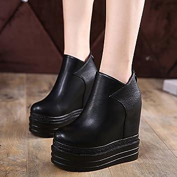 GTVERNH-d'automne de bas de pente coréen avec les bottes et souliers à talons hauts nues dans le super muffin augmentation bottes souliers trente - quatre black iXufbjnq