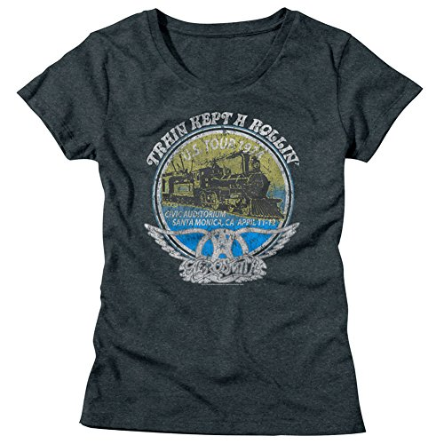 Dream Vintage Tee - Aerosmith American Rock Band Train Kept A Rollin 1974 US Tour Womens T-Shirt Tee