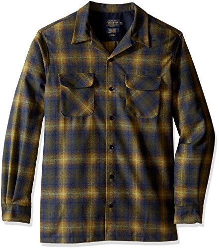 Pendleton Men's Tall Size Big and Board Shirt, Black/Brown Ombre, LG