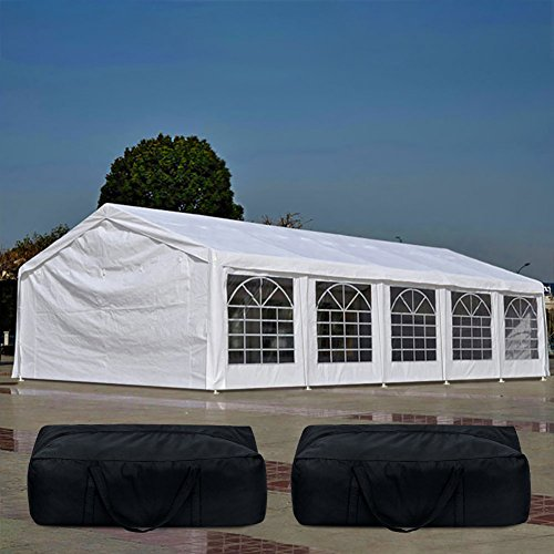 (Quictent 20' x 32' Upgraded Galvanized Heavy Duty Gazebo Party Tent Wedding Canopy Carport Shelter with 5 Carry Bags(20x32, White))