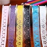 5Pcs DIY Lace Paper Tape Masking Adhesive Sticky Decor