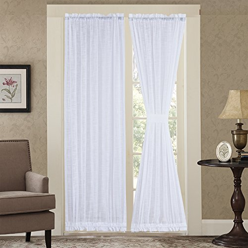 Rose Home Fashion RHF Linen French Door Curtains, Sheer Door Curtains, French Door Sheer Curtains, Door Curtain, French Door Curtain, Panel(White-52 by 72 Inches 2 Panels) by Rose Home Fashion