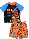Lego Movie 2 The Second Part Boy's 2 piece Short Sleeve Tee Shorts Pajamas Set (3T, Blue/Orange)