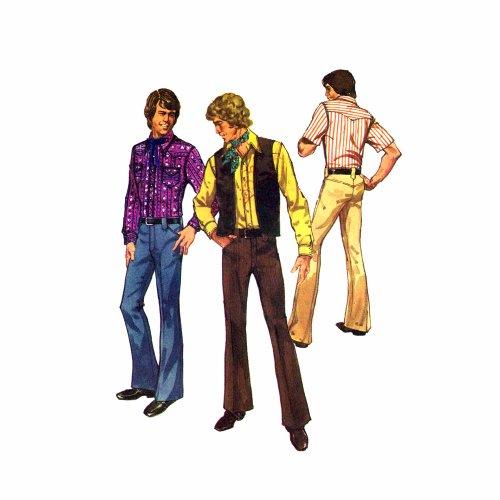 1970s Mens Western Shirt Vest Pants Simplicity 5048 Vintage Sewing Pattern Size 40 Chest 40