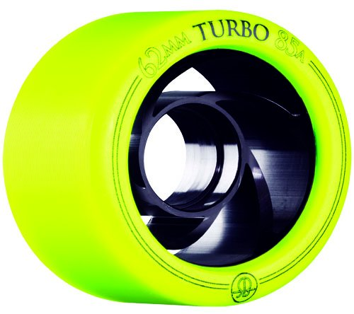 Rollerbones Turbo Yellow Quad Roller Derby Skate Wheels 8 Pack (85A) by RollerBones