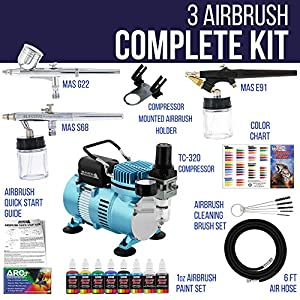 Master Airbrush Professional Cool Runner II Dual Fan Air Compressor Airbrushing System Kit with 6 Primary Opaque Colors Acrylic Paint Artist Set, 3 Airbrushes, Gravity and Siphon Feed – How to Guide