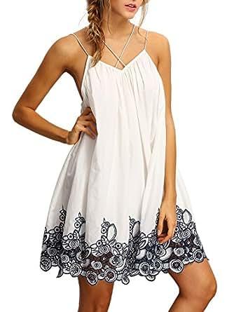 ROMWE Women's Summer Sundress Printed Casual Mini Beach Floral Tunic Dress White XS