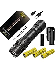 COMBO: NITECORE P10ix Type-C Rechargeable Ultra Compact Flashlight - 4000 Lumen w/ 2x EXTRA NL2150HPi Battery and Eco-Sensa Charging Cable