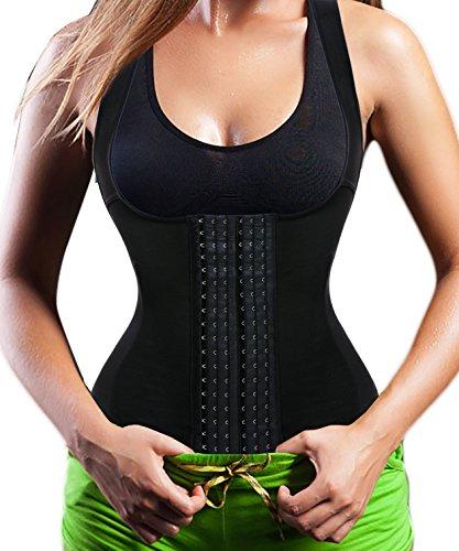Damen Waist Trainer Cincher Korsett Vest Top,Sport Body Shaper Corsage 6 Row Haken Black(3-5 Days Delivery)
