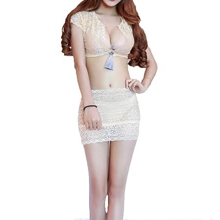 ZFAZY - Pijama de Encaje Transparente para Mujer, con Falda Qi en ...