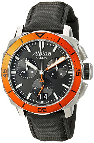 Alpina-Mens-AL-372LBO4V6-Seastrong-Diver-300-Chronograph-Big-Date-Analog-Display-Swiss-Quartz-Black-Watch