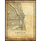 Chicago map Vintage Style Poster Print | Old City Artwork Prints | Antique Style Home Decor | Illinois Wall Art Gift | Vintage maps 18x24