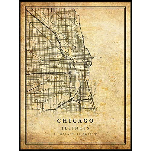 Chicago map Vintage Style Poster Print | Old City Artwork Prints | Antique Style Home Decor | Illinois Wall Art Gift | Vintage maps 18x24 by Vintago
