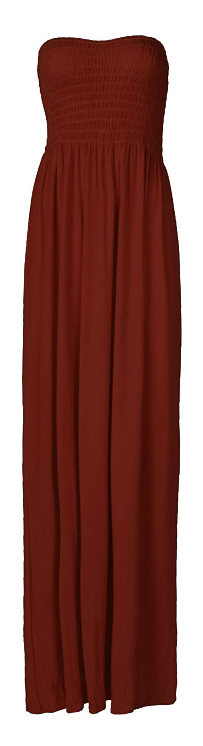 Forever Women's Plus Size Plain Boobtube Elasticated Sheering Maxi Dress