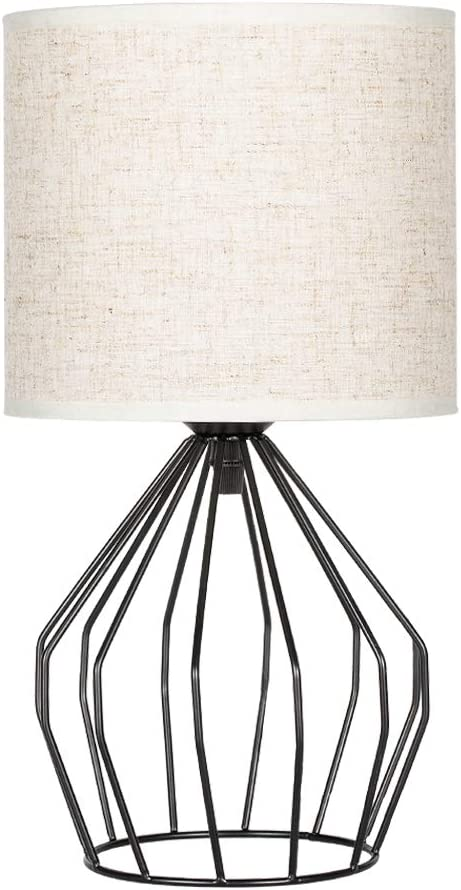 HAITRAL Bedroom Table Lamp - Minimalist Bedside Desk Lamp with Black Metal  Hollowed Out Base and Linen Fabric Shade, Nightstand Lamps for Bedroom, ...