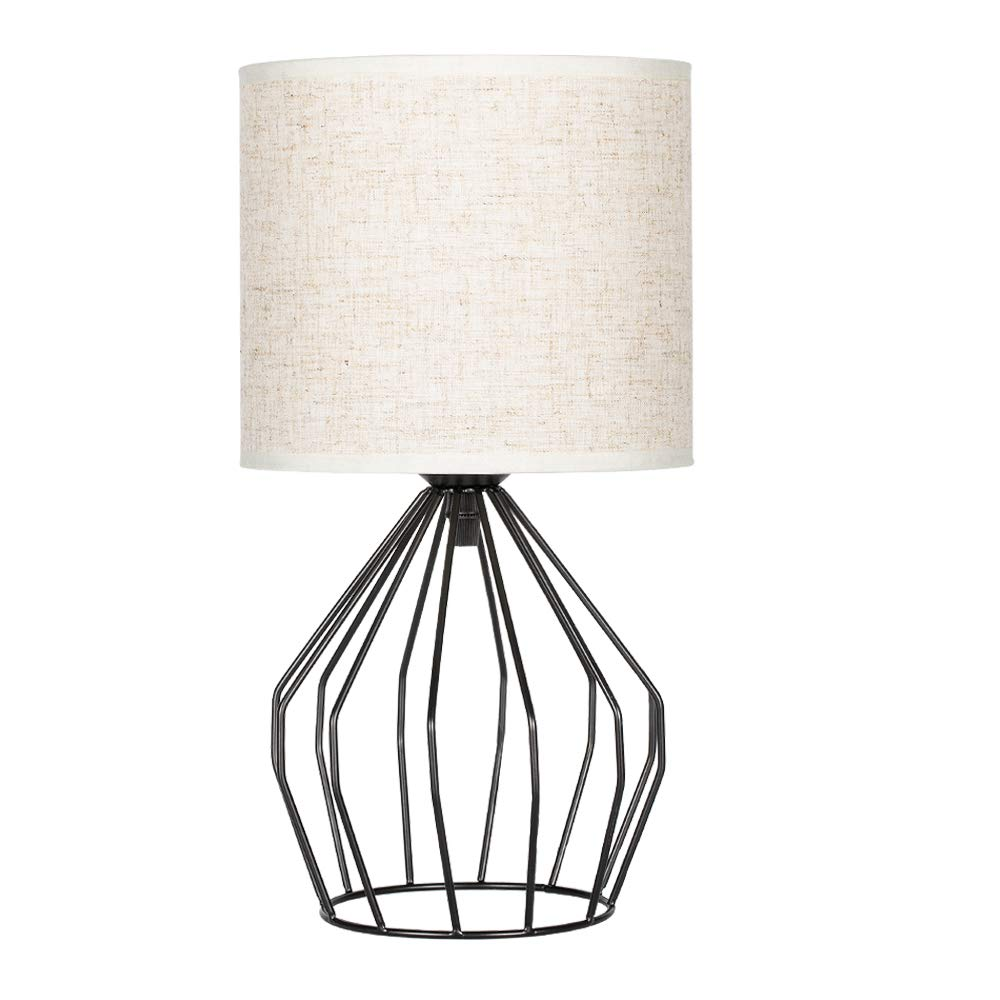 HAITRAL Bedroom Table Lamp - Minimalist Bedside Desk Lamp with Black Metal Hollowed Out Base and Linen Fabric Shade, Nightstand Lamps for Bedroom, Living Room, College Dorm, Kids Room (HT-TH57-02)