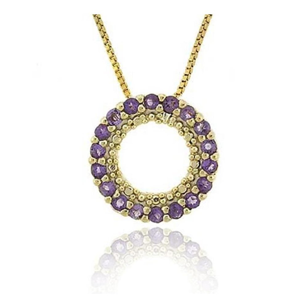 Glitzs Jewels Gold Tone Over Sterling Silver 1//2Ct Amethyst Circle Eternity Pendant 18