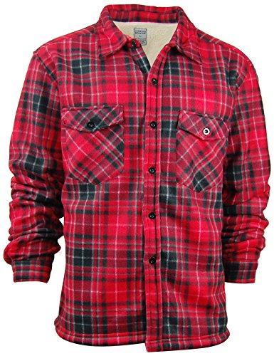 Oakwood Mountain Men's Sherpa Lined Flannel Shirt Jacket (Medium, Light (Flannel Lined Shirt Jacket)