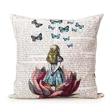 Akery Unique Design Alice In Wonderland Cotton Linen Throw Pillow Cases Cushion Covers, 18  x 18