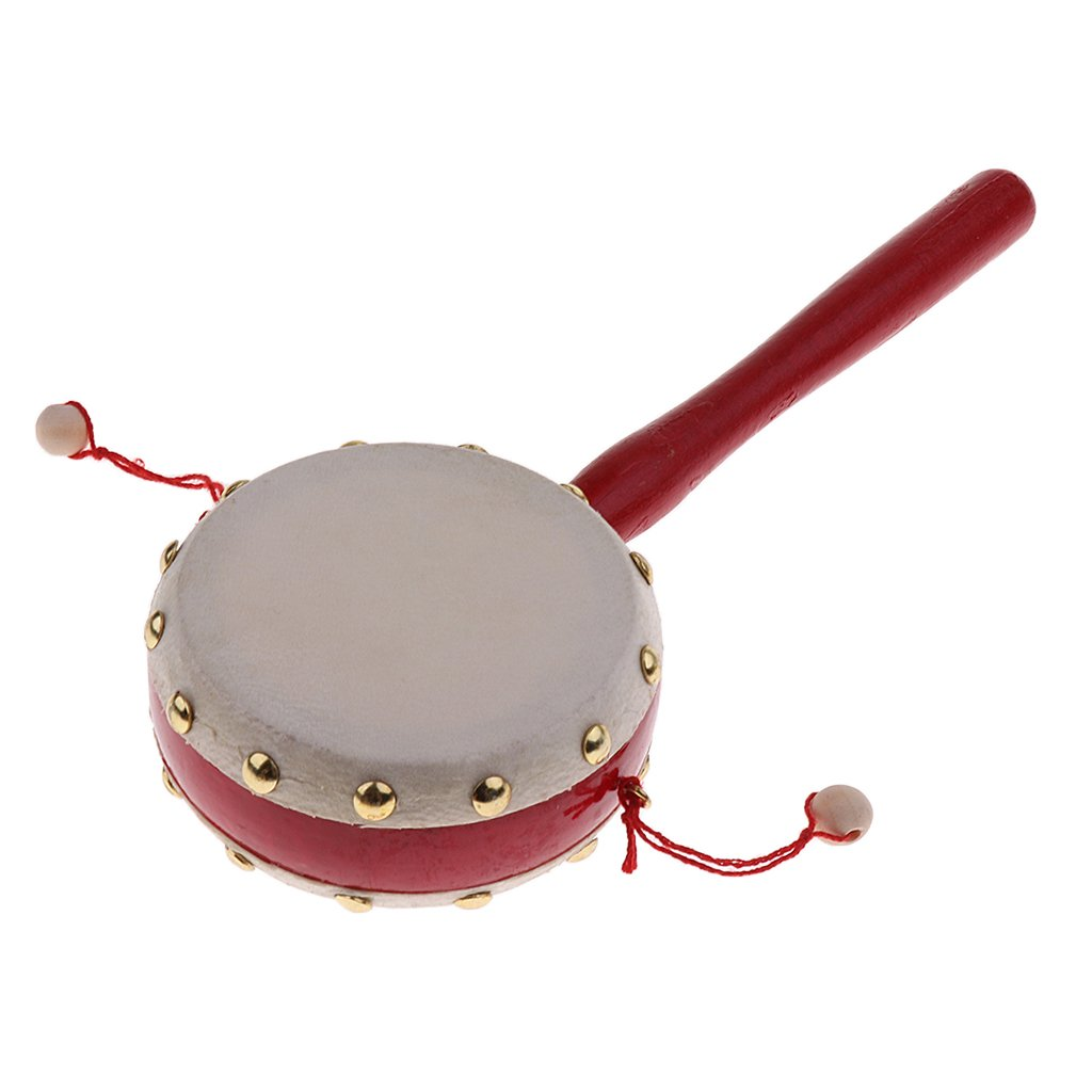 D DOLITY Wooden Pellet Drum Rattle Hand Rhythm Percussion Toy for Children - Wood, as described
