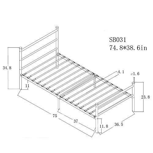 Aingoo struttura letto nero di singolo metallo letto - Struttura letto singolo ...
