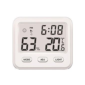 Termómetro digital Vosarea con reloj para casa, oficina, temperatura y humedad (sin batería blanca): Amazon.es: Industria, empresas y ciencia