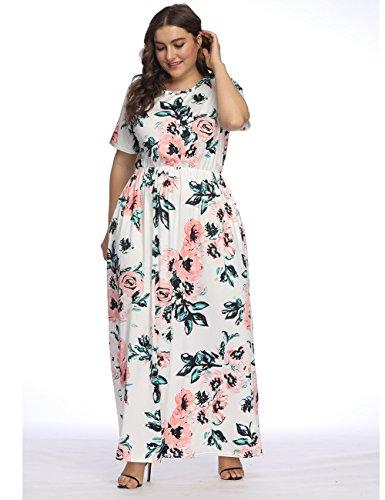 Bianco Long Dress party manica Tasca corta Donna Lover Fashion Elegante 2 Size Suleto stampa Top Gonna Maxi floreale Estate per beauty Plus Vestiti 5EPxqwxKA1