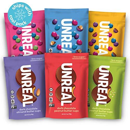 UNREAL Chocolate Variety Pack | Less Sugar, Fair Trade, Natural | 6 Bags ... (Unreal Dark Chocolate Crispy Quinoa Peanut Butter Cups)