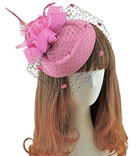 Fascinator Hats Pillbox Hat British Bowler Hat Feather Flower Veil Wedding Hat (Pink) Derby Music Box