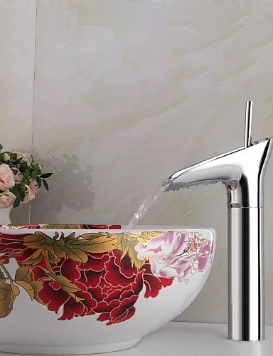 (Ling@ Basin mixer Contemporary Winebowl Style Chrome plated Brass Cold / Hot Water Faucet Silver)