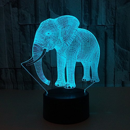 Lumiere 3D Night Light Elephant Lamp LED Lamp with USB Cable, 7 LED Colors Change, Smart Touch, Button Control, Acrylic Panel & ABS Base