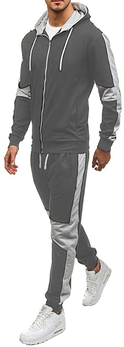 GUCCPAI Uomo e Donna Tute Per Du/_C.Ati Pantaloni Sportivi con Giacca a Righe in Due Pezzi Casuale//Gelb//M