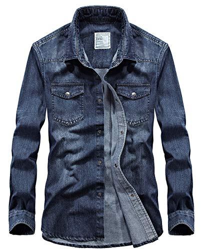 (chouyatou Men's Essential Snap Button Down Long Sleeve Washed Denim Shirt (X-Large, Dark Blue))