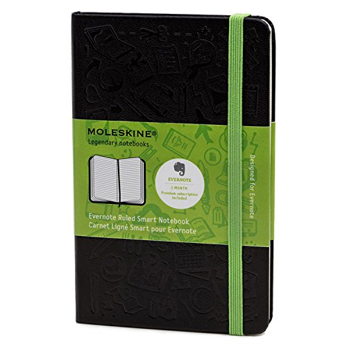 "Moleskine Ruled Evernote Smart Notebook, 3-1/2"" x 5-1/2"", Black Cover, 192 Sheets"
