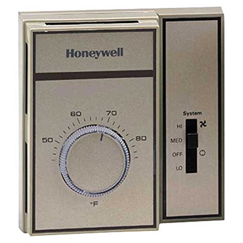 Honeywell T6169C4015 Fan Coil Medium Duty Line Voltage Thermostat for Heating and Cooling with Thermometer, 44 Degree F to 86 Degree F