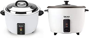 Aroma Housewares 60-Cup (Cooked) (30-Cup UNCOOKED) Commercial Rice Cooker (ARC-1033E) & Housewares 32-Cup (Cooked) (16-Cup UNCOOKED) Pot Style Rice Cooker (ARC-7216NG)