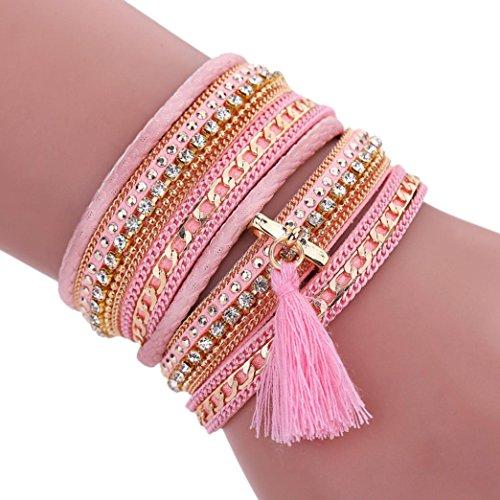 Ikevan Women Bohemian Bracelet Woven Braided Handmade Wrap Cuff Magnetic Clasp (Pink)