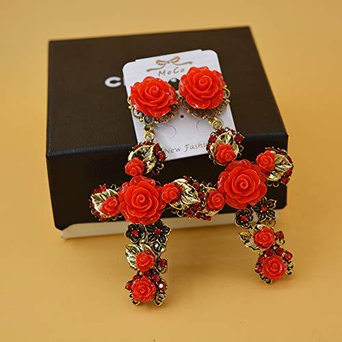 Baroque Red Rose Flower Filigree Cross Earrings Gold Tone Enameled Leaf Deco Floral Cross Drop Earrings Romantic Jewelr (1)