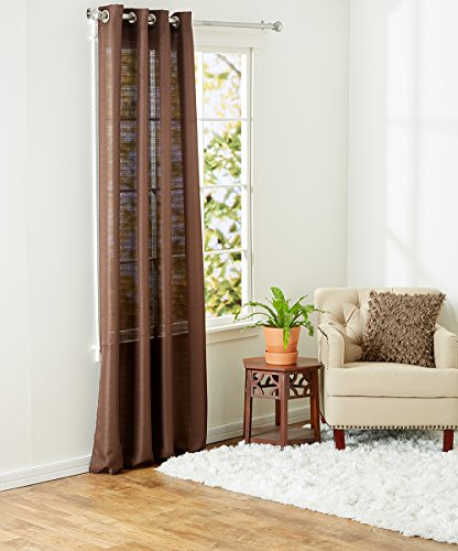 Ruthy's Textile 2-Piece Textured Jacquard Grommet Window Curtain Panels 55″X90″ Each (Brown)