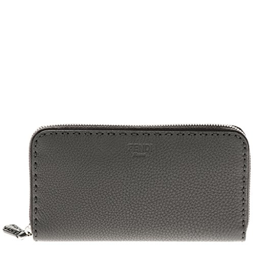Fendi Women's Selleria Zip around Wallet Dark Grey