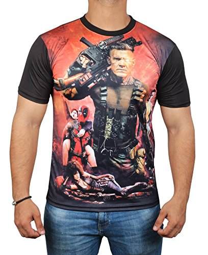 Miracle(Tm) Deadpool Poster 3D Sublimation T Shirt - Mens Adult Graphic Shirt (Deadpool Halloween Funny)