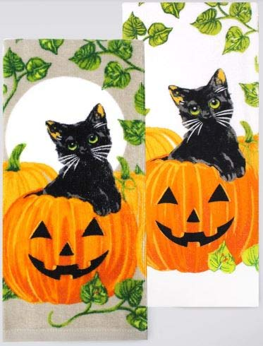 Halloween 2-Pack Kitchen Dish Towels Set - Black Cats In Pumpkin Patch