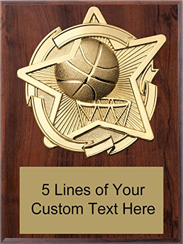 (Express Medals 6 x 8 Cherry Finish Basketball Star Plaque Trophy Award with Custom Engraved Personalized Text)